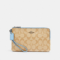 COACH 16109 - DOUBLE ZIP WALLET IN SIGNATURE CANVAS SV/LIGHT KHAKI/SLATE