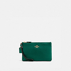 COACH 16111B Boxed Small Wristlet GD/BRIGHT JADE