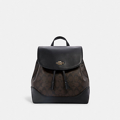 COACH 1613 ELLE BACKPACK IN SIGNATURE CANVAS IM/BROWN BLACK