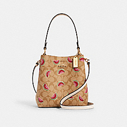 SMALL TOWN BUCKET BAG IN SIGNATURE CANVAS WITH WATERMELON PRINT - 1619 - IM/LT KHAKI/RED MULTI