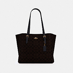 MOLLIE TOTE IN SIGNATURE CANVAS - 1665 - IM/BROWN BLACK
