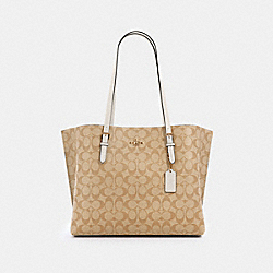 MOLLIE TOTE IN SIGNATURE CANVAS - 1665 - IM/LIGHT KHAKI CHALK