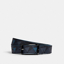 COACH 1670 - HARNESS BUCKLE CUT-TO-SIZE REVERSIBLE BELT WITH CHECK GEO PRINT, 38MM QB/NAVY