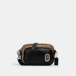 COACH 1695 - COURT CROSSBODY IN SIGNATURE CANVAS WITH COACH PATCH SV/KHAKI/BLACK