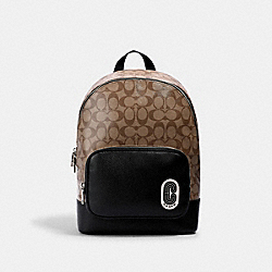 COACH 1700 - COURT BACKPACK IN SIGNATURE CANVAS WITH COACH PATCH SV/KHAKI/BLACK