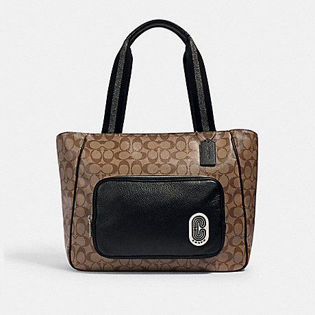 COACH 1708 COURT TOTE IN SIGNATURE CANVAS WITH COACH PATCH SV/KHAKI/BLACK