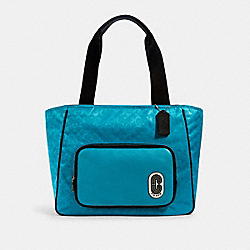 COACH 1709 - COURT TOTE IN SIGNATURE NYLON WITH COACH PATCH SV/AQUA