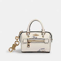 COACH 1715 Mini Rowan Satchel Bag Charm With Dandelion Floral Print IM/CHALK/BLUE