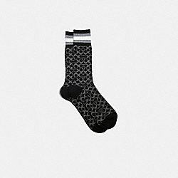 COACH 176 - SIGNATURE SOCKS BLACK MULTI