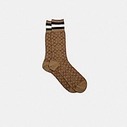 COACH 176 Signature Socks KHAKI MULTI