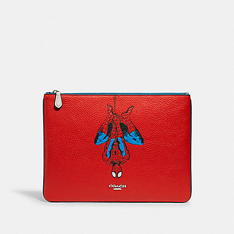 COACH 1826 COACH │ MARVEL LARGE POUCH WITH SPIDER-MAN SV/MIAMI RED