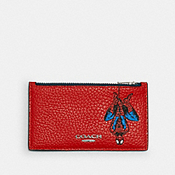 COACH 1857 Coach │ Marvel Zip Card Case With Spider-man SV/MIAMI RED