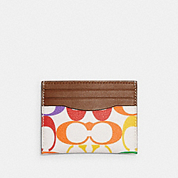 COACH 1870 - SLIM CARD CASE IN RAINBOW SIGNATURE CANVAS QB/RAINBOW MULTI