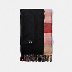 COACH 18769 - REVERSIBLE PLAID PRINT CASHMERE OVERSIZED MUFFLER MULTI/BLACK