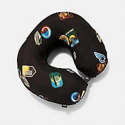 PACKABLE TRAVEL PILLOW WITH TRAVEL PATCHES - 1887 - QB/CHARCOAL MULTI