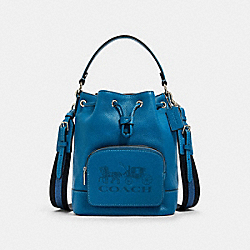 COACH 1898 - JES DRAWSTRING BUCKET BAG WITH HORSE AND CARRIAGE SV/BLUE JAY