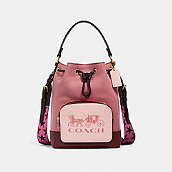 COACH 1899 Jes Drawstring Bucket Bag In Colorblock With Horse And Carriage IM/ROSE MULTI