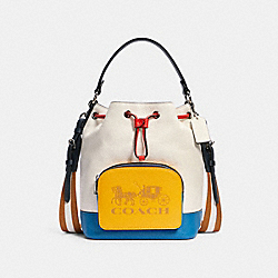 COACH 1899 Jes Drawstring Bucket Bag In Colorblock With Horse And Carriage SV/CHALK MULTI