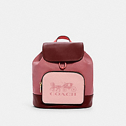 COACH 1900 - JES BACKPACK IN COLORBLOCK WITH HORSE AND CARRIAGE IM/ROSE MULTI