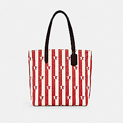 COACH 1910 - TOTE WITH STRIPE STAR PRINT SV/CHALK RED MULTI