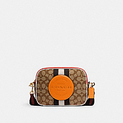 DEMPSEY CAMERA BAG IN SIGNATURE JACQUARD WITH STRIPE AND COACH PATCH - 1912 - IM/KHAKI SUNBEAM MULTI
