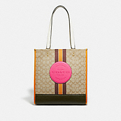 COACH 1917 - DEMPSEY TOTE IN SIGNATURE JACQUARD WITH STRIPE AND COACH PATCH IM/LT KHAKI ELECTRIC PINK
