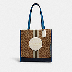 DEMPSEY TOTE IN SIGNATURE JACQUARD WITH STRIPE AND COACH PATCH - 1917 - SV/KHAKI CLK PALE GREEN MULTI