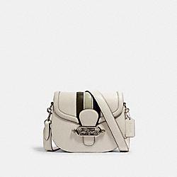 COACH 1924 Jade Saddle Bag With Varsity Stripe SV/CHALK PALE GREEN MULTI