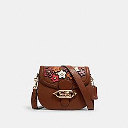 COACH 1926 Jade Saddle Bag With Daisy Applique IM/REDWOOD MULTI