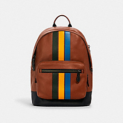 COACH 1973 - WEST BACKPACK WITH VARSITY STRIPE QB/REDWOOD/CLOVER/TUMERIC/BLUE