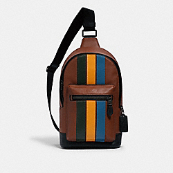 COACH 1974 West Pack With Varsity Stripe QB/REDWOOD/CLOVER/TUMERIC/BLUE