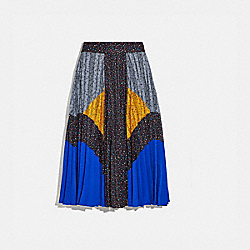 COACH 1987 Mix Pleated Skirt BLACK/BLUE/GREY/YELLOW