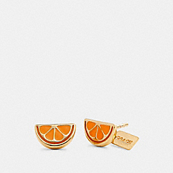 ORANGE SLICE STUD EARRINGS - 1995 - GD/ORANGE