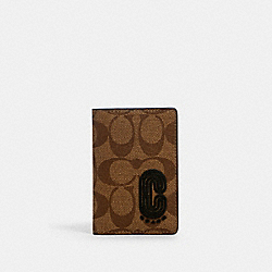 COACH 2040 - CARD WALLET IN SIGNATURE CANVAS WITH COACH PATCH QB/TAN BLACK