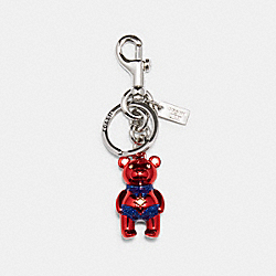 COACH 2046 - COACH │ MARVEL CAROL DANVERS BEAR BAG CHARM SV/METALLIC NAVY