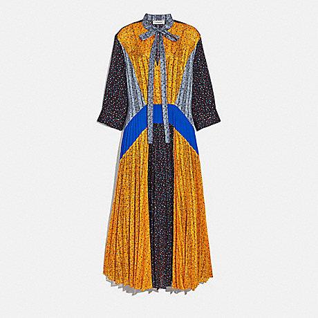 COACH PLEATED TIE DRESS - BLUE/BLACK/YELLOW - 2075