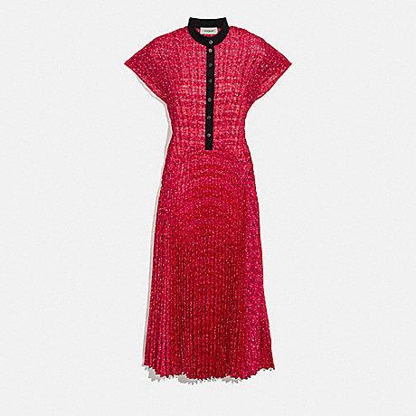 COACH 2104 SLEEVELESS PLEATED DRESS RED/BLACK
