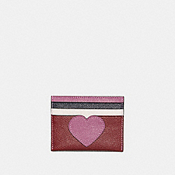 BOXED CARD CASE WITH HEART MOTIF - BORDEAUX MULTI/DARK GUNMETAL - COACH 21108B