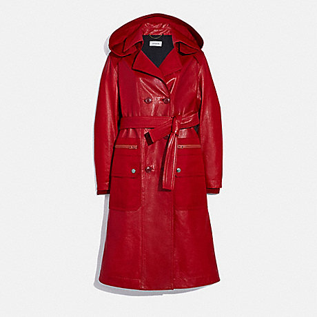 COACH 2200 LEATHER TRENCH WITH RUCHING DETAIL RED