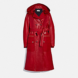 COACH 2200 - LEATHER TRENCH WITH RUCHING DETAIL RED