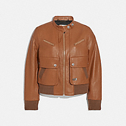 COACH 2214 - LEATHER BOMBER JACKET DARK CARAMEL