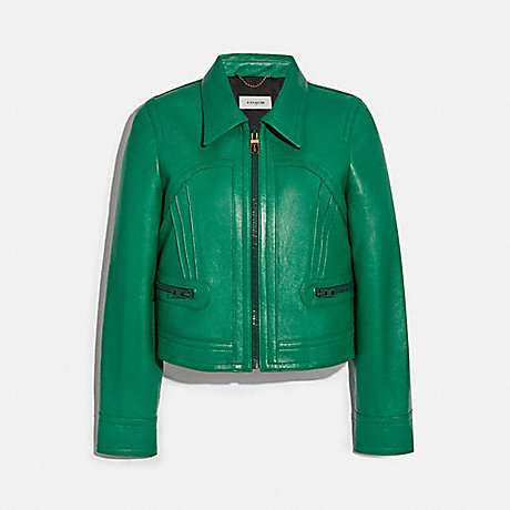 COACH 2258 CROPPED LEATHER BLOUSON GREEN