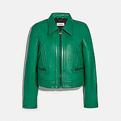 COACH 2258 - CROPPED LEATHER BLOUSON GREEN