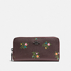 ACCORDION ZIP WALLET WITH CROSS STITCH FLORAL PRINT - 22877 - DK/OXBLOOD CROSS STITCH FLORAL