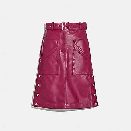 COACH BELTED LEATHER SKIRT - TWEED BERRY - 2293