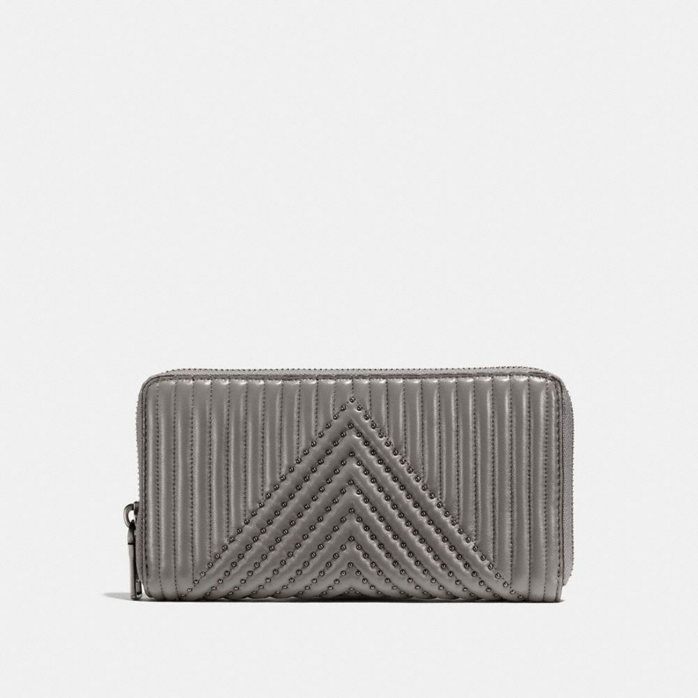 Coach Accordion Zip Wallet With Quilting And Rivets - Women'S, Heather Grey/Black Copper