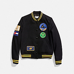 MILITARY PATCH VARSITY JACKET - 23052 - BLACK
