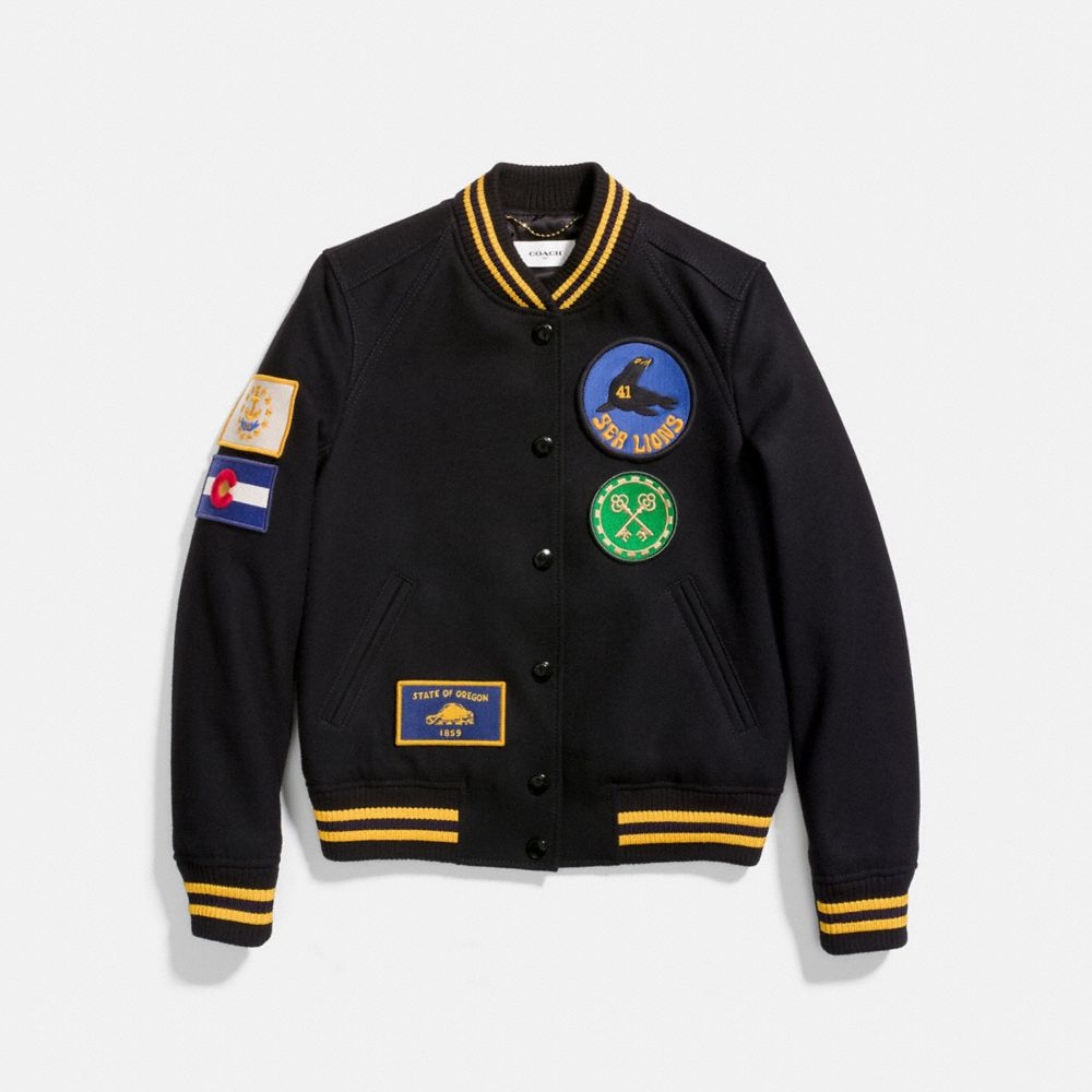 Coach Military Patch Varsity Jacket - Women'S, Black from COACH