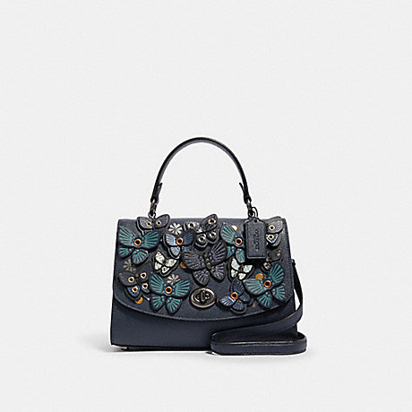 COACH TILLY TOP HANDLE WITH BUTTERFLY APPLIQUE - QB/MIDNIGHT - 2307
