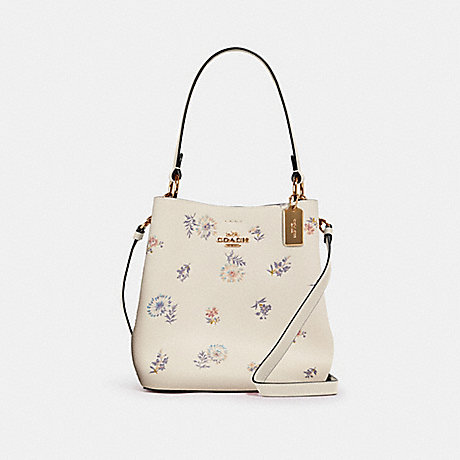 COACH SMALL TOWN BUCKET BAG WITH DANDELION FLORAL PRINT - IM/CHALK LIGHT SADDLE - 2310